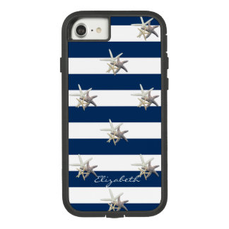 Adorable Starfish ,Navy Blue Stripes-Personalized Case-Mate Tough Extreme iPhone 8/7 Case