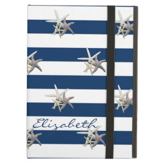 Adorable Starfish ,Navy Blue Stripes-Personalized iPad Air Cover