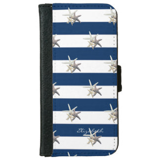 Adorable Starfish ,Navy Blue Stripes-Personalized iPhone 6 Wallet Case