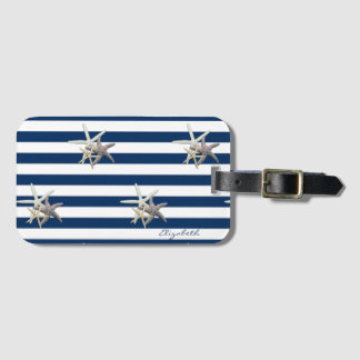 Adorable Starfish,Navy Blue Stripes-Personalized Luggage Tag