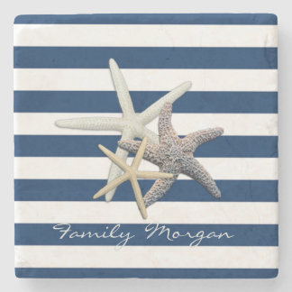 Adorable Starfish ,Navy Blue Stripes-Personalized Stone Coaster