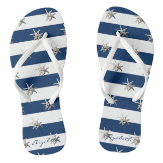 Adorable Starfish On Stripes-Personalized Flip Flops