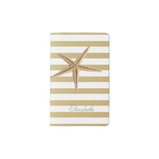 Adorable Starfish On Stripes-Personalized Pocket Moleskine Notebook