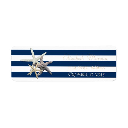 Adorable Starfish, Stripes Return Address Label