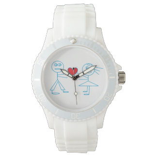 Adorable Stick Figure Couple in Love White Watch