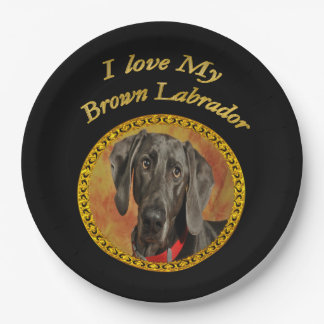 Adorable sweet brown labrador canine puppy dog paper plate