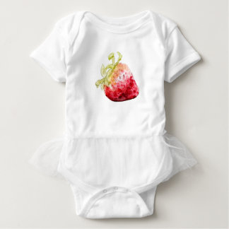 Adorable Sweetness Red Strawberry Fruit Watercolor Baby Bodysuit