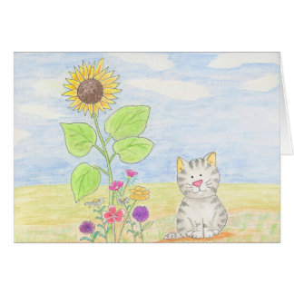 Adorable tabby kitten sunflower watercolor card