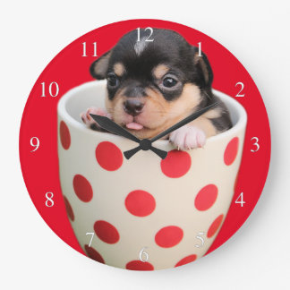 Adorable Teacup Puppy Small Numbers Large Clock