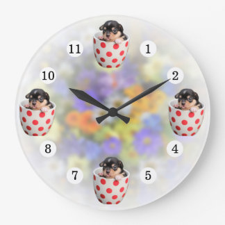 Adorable Teacup Puppy Soft Flowers Background Large Clock