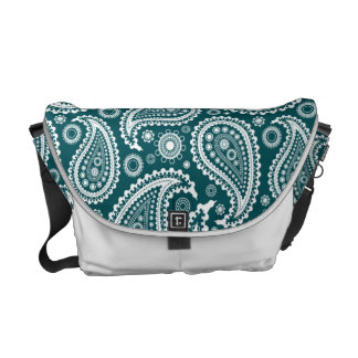Adorable Teal Blue and White Paisley Courier Bag