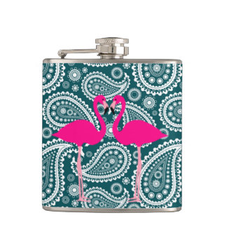 Adorable Teal Blue and White Paisley-Flamingos Flask
