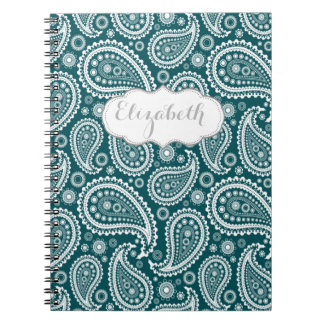 Adorable Teal Blue and White Paisley-Personalized Notebooks