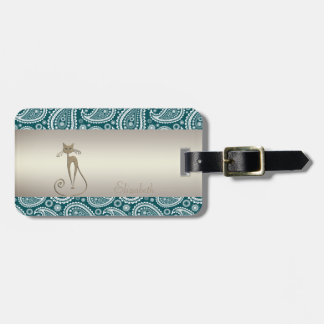 Adorable Teal Blue,White Paisley,Cat -Personalized Luggage Tag