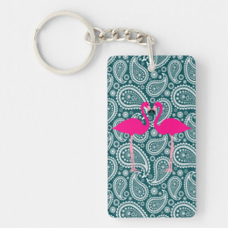 Adorable Teal Blue White Paisley-Pink Flamingos Keychain