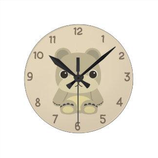 Adorable Teddy Bear Round Clock