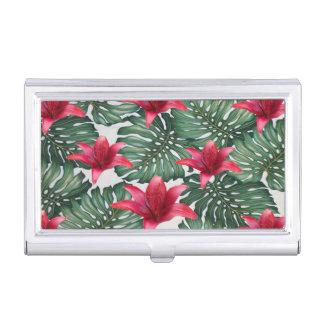 Adorable Tropical Palm Hawaiian Hibiskus Business Card Holder