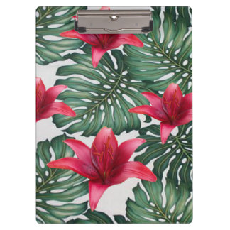 Adorable Tropical Palm Hawaiian Hibiskus Clipboard
