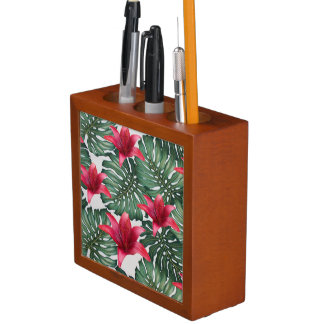 Adorable Tropical Palm Hawaiian Hibiskus Desk Organizer