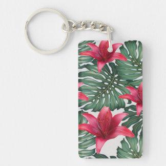Adorable Tropical Palm Hawaiian Hibiskus Double-Sided Rectangular Acrylic Keychain