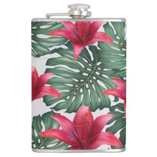 Adorable Tropical Palm Hawaiian Hibiskus Flask