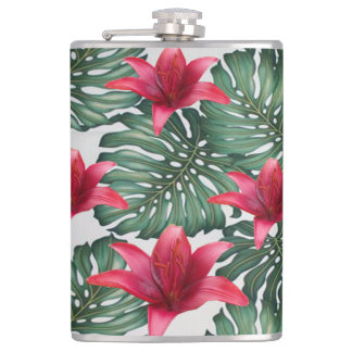 Adorable Tropical Palm Hawaiian Hibiskus Flasks