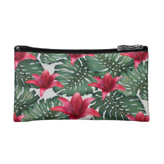 Adorable Tropical Palm Hawaiian Hibiskus Makeup Bag