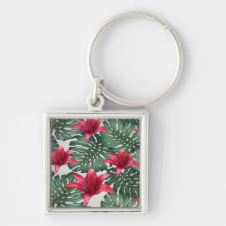 Adorable Tropical Palm Hawaiian Hibiskus Silver-Colored Square Keychain