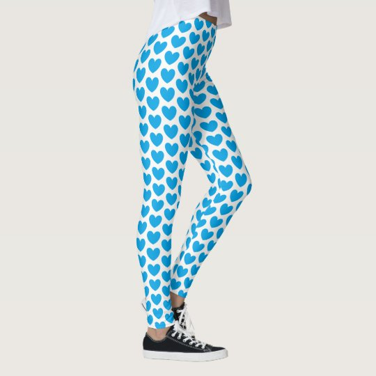 Adorable Turquoise Hearts Pattern Leggings
