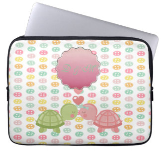 Adorable Turtles In Love On Colorful Buttons Laptop Sleeve
