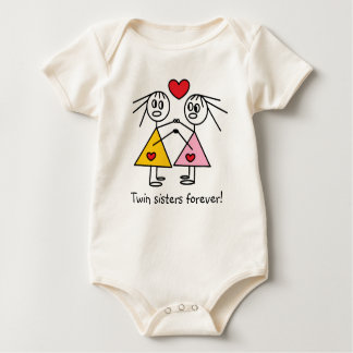 Adorable Twin Sisters Forever Girl Stick Figures Baby Bodysuit