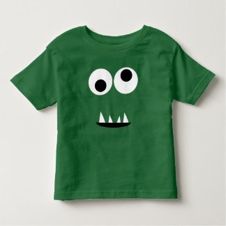 Adorable Two Eyed Monster Face Funny Kids Green Toddler T-shirt