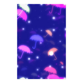 Adorable Umbrella Galaxy Print - Neon Colors Customized Stationery