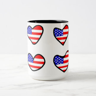 Adorable USA Flag Hearts Two-Tone Coffee Mug