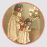 Adorable Victorian Illustration of Two Girls Round Stickers