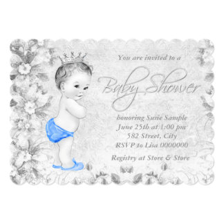 "Adorable Vintage Boys Blue and Gray Baby Shower 5"" X 7"" Invitation Card"