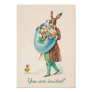 Adorable Vintage Easter Party Invitation - Rabbits