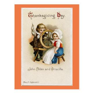 Adorable Vintage Pilgrims Postcard