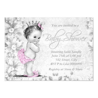 Adorable Vintage Pink and Gray Baby Shower Personalized Invites