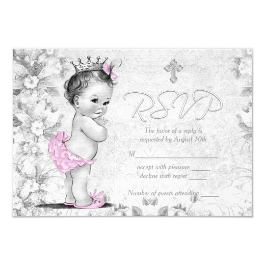 Adorable Vintage Pink and Grey Baptism RSVP Card