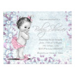 Adorable Vintage Pink and Purple Baby Shower Invite