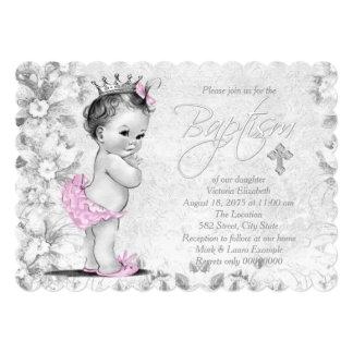 "Adorable Vintage Princess Pink and Gray Baptism 5"" X 7"" Invitation Card"