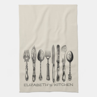 Adorable Vintage Silverware and Name Kitchen Towel