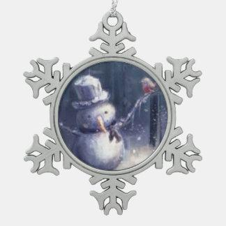 Adorable Vintage Snowman Art Snowflake Ornament