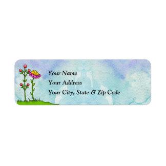 Adorable Watercolor Doodle Flower Label Return Address Label