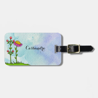 Adorable Watercolor Doodle Flower Luggage Tag