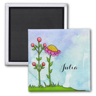 Adorable Watercolor Doodle Flower Magnet