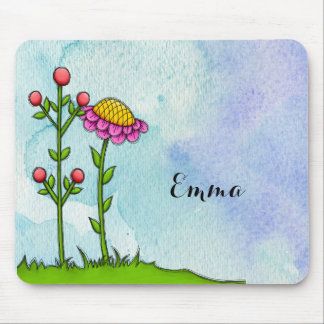 Adorable Watercolor Doodle Flower Mousepad