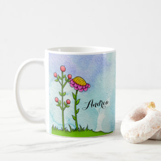 Adorable Watercolor Doodle Flower Mug