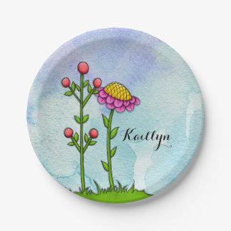 Adorable Watercolor Doodle Flower Plate
